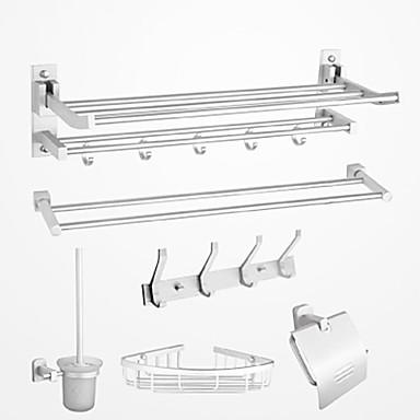 Tilbehørssæt til badeværelset Moderne Aluminium 6stk - Hotel bad Toiletpapirholdere / Robe Hook / tårn bar Vægmonteret