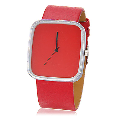 Unisex Simple Rectangle Dial PU Band Quartz Analog Wrist Watch (Assorted Colors) Cool Watches Unique Watches