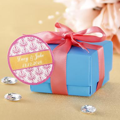 Autocolante personalizate Favor cilindric - Pink Floral Print (Set de 36)