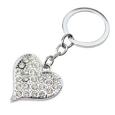 Personalized Gift 4pcs Heart Shaped Engraver Keycahin with Rhinestone