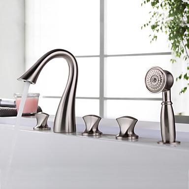 Badewannenarmaturen - Moderne Gebürsteter Nickel Badewanne & Dusche Keramisches Ventil