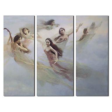 Pictate manual pictură în ulei Oamenii Rapture Fairy cu întins Frame Set de 3