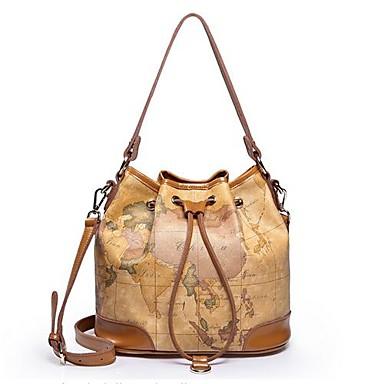 4f54a3db6b Női PU Faux Valódi bőr barna vödör Világtérkép pénztárca táska válltáska