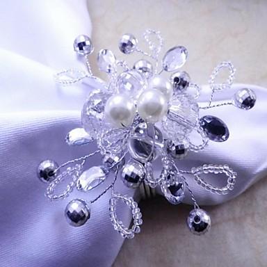 Crystal Pearl Floral șervețele Ring, acrilic, de 4,5 cm, set de 12