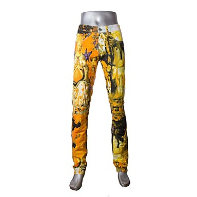 Cotton Jeans Pants - Print Rainbow