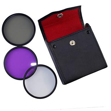 52mm UV + CPL + FLD 3-i-1 sæt med PU Læder taske