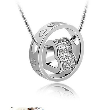 Heart Love Heart Pendant Necklace Crystal Crystal Rhinestone Austria Crystal Alloy Pendant Necklace , Wedding Party Thank You Daily