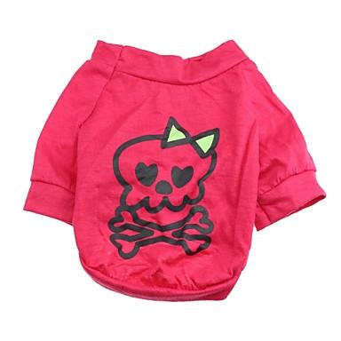 Katze / Hund Pullover Hundekleidung Totenkopf Motiv Rose Baumwolle Kostüm Für Haustiere Sommer Herrn / Damen Lässig / Alltäglich