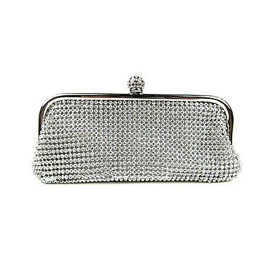 Dame Tasker Nylon Aftentaske Krystaldetaljering / Krystal / Rhinsten Guld / Sort / Sølv / Bryllup tasker