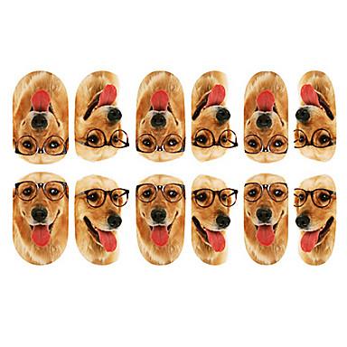 12PCS Lovely Dog cu ochelari model Nail Art Stickere luminos