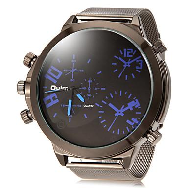 Men's Quartz Wrist Watch Military Watch Dual Time Zones Alloy Band Charm Silver