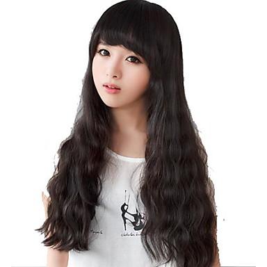 Synthetische Perücken Wellen Mit Pony Synthetische Haare 23 Zoll Perücke Damen Kappenlos