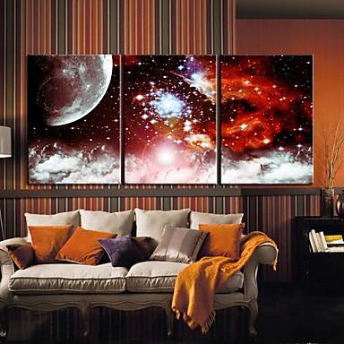 Stretched Canvas Art Landscape Star Universe Set of 3