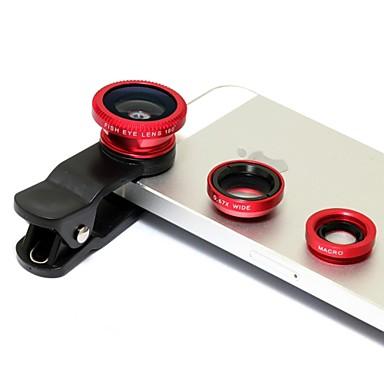 Lens Clip universal Wide Angle + + Fisheye Macro Lens - Red