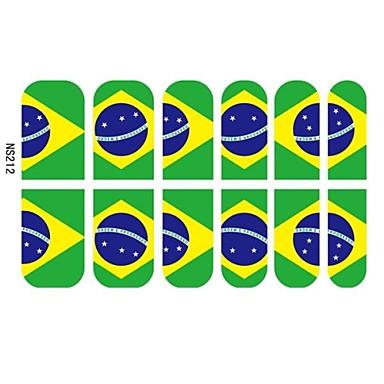 12 PCS 3D, Full Finger Negletipper Stickers For Brasilien Football Fans