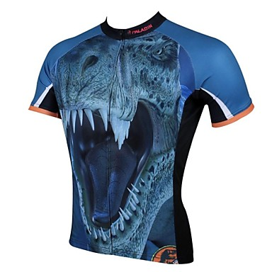ILPALADINO Herrn Kurzarm Fahrradtrikot - Blau Dinosaurier Fahhrad Trikot / Radtrikot Oberteile, Atmungsaktiv Rasche Trocknung UV-resistant 100% Polyester