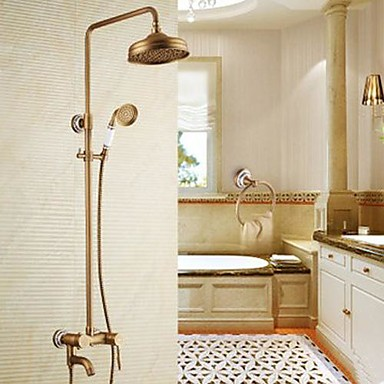 Antique Shower System Rain Shower / Handshower Included with  Ceramic Valve Single Handle Three Holes for  Antique Brass , Shower Faucet