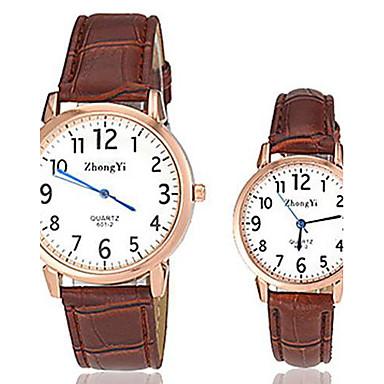 Herrn Damen Paar Quartz Armbanduhr Armbanduhren für den Alltag Leder Band Charme Modisch Schwarz Weiß Braun