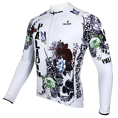 ILPALADINO Herrn Langarm Fahrradtrikot - Weiß Blumen / Pflanzen Fahhrad Trikot / Radtrikot Oberteile, Atmungsaktiv warm halten Rasche Trocknung 100% Polyester / UV-resistant