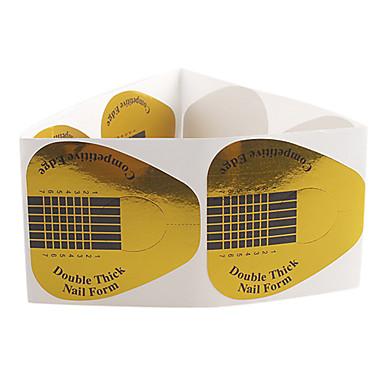 10PCS Golden Horseshoe mønster Nail Art Forms for akryl & UV Gel Tips