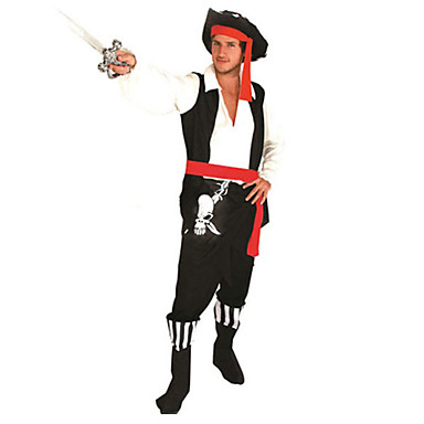 Cosplay Costumes Party Costume Pirate Festival/Holiday Halloween Costumes Patchwork Top Pants Belt Hat Halloween Carnival Male Polyester