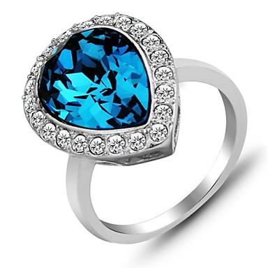 Cel mai bun Partidul inel albastru de cristal inele de argint pentru femei moda bijuterii Sapphire Ring