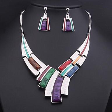 Dames Vintage Feest Opvallende sieraden Bruids Kleurrijk Sieraden Set Verklaring Kettingen Synthetische Edelstenen Legering Sieraden Set