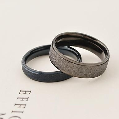Bărbați Pentru femei Inele Cuplu Negru Argintiu Oțel titan Rotund Zilnic Casual Costum de bijuterii