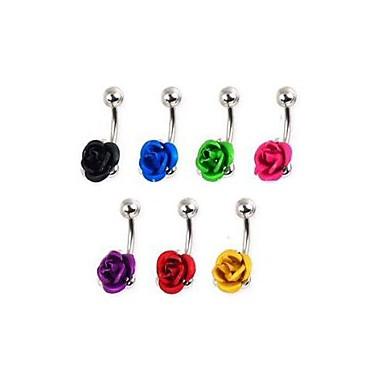 lureme®316l chirurgisch titanium stalen bloemen navel ring (willekeurige kleur)