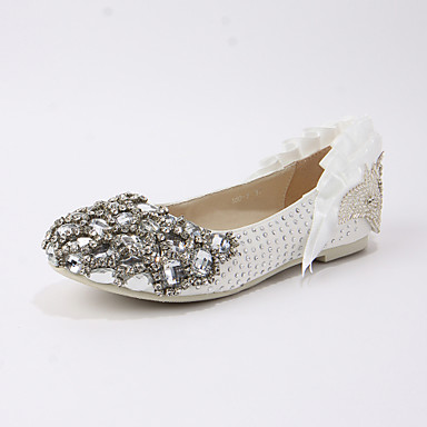 med Kvinders Heel rhinestone Ballerina Flats Satin Bryllup sko Flat fY6yb7g