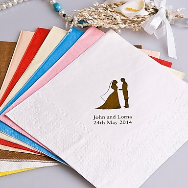 cheap Wedding Napkins-The Icon Color Personalized Napkins-100 Sets (More Colors)