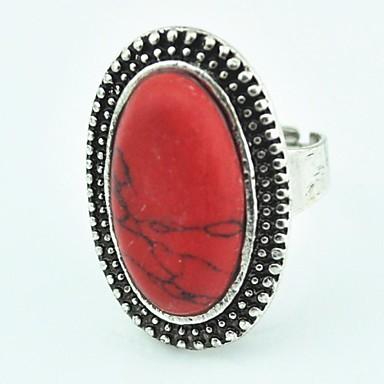 Vintage Female Turquoise Adjustable Ring (Red)(1pcs)