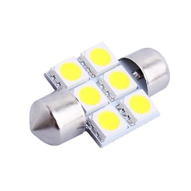 31mm 1.2W 100LM 6000K 6x5050 SMD White LED for Car Reading/License Plate/Door Lamp (DC12V, 1Pcs)