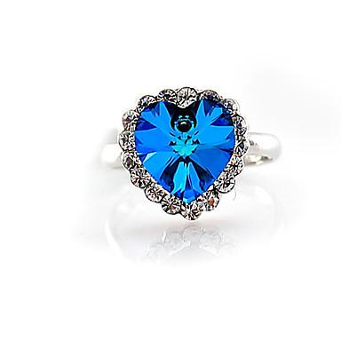 J & G kvinders hjerte Shape Elegant krystal Ring