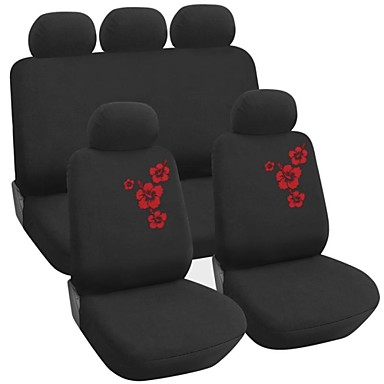 9 PCS Set Car Seat Covers Floral Embroidery Design Universal Fit  Auto Accessories
