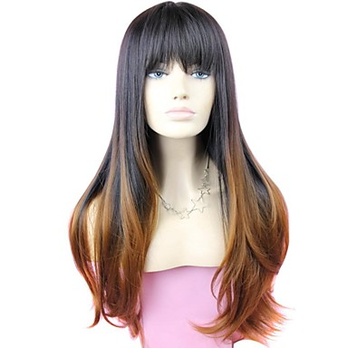 Synthetic Wig With Bangs Dark Roots Ombre Hair Black Women's Carnival Wig Halloween Wig Long