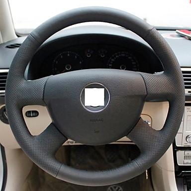 XuJi ™ Black Genuine Leather Steering Wheel Cover for Volkswagen Passat B6