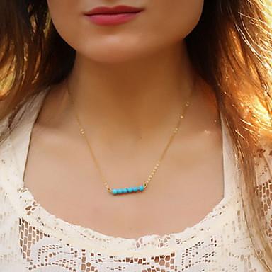 Shixin® Classic Many Blue Resin Bead Pendant Necklace(1 Pc)