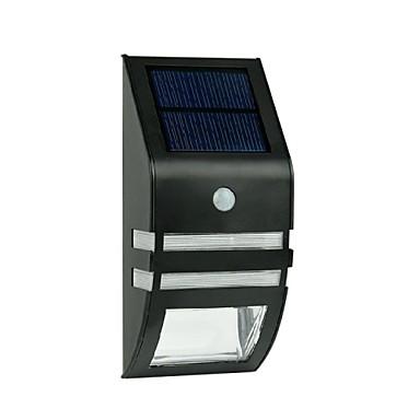 2-LED nerezové oceli Solární nástěnné světlo s PIR pohybový senzor