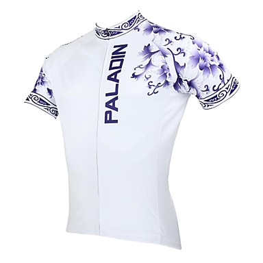 ILPALADINO Men's Short Sleeves Cycling Jersey Floral / Botanical Bike Jersey, Quick Dry, Ultraviolet Resistant, Breathable