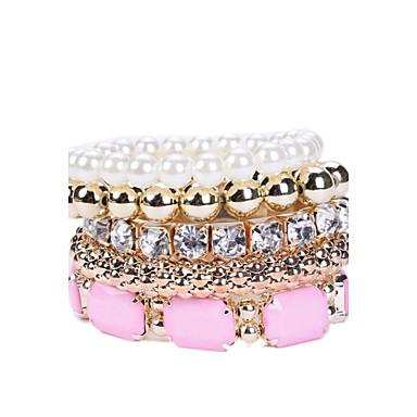 Damen Glasperlen Tennis Kette Schmuckset Strang-Armbänder - Harz, Diamantimitate Luxus Armbänder Weiß / Rosa Für Party Alltag Normal