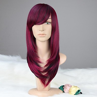 Synthetic Wig With Bangs Purple Women's Carnival Wig Halloween Wig Black Wig