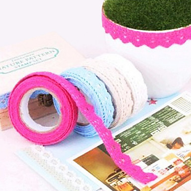 DIY Cute Colorful Fabric Flower Cloth Lace Tape For Decor Photo Albums