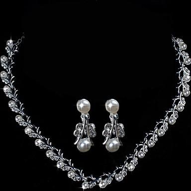 Alloy elegáns strassz és Gyöngy Esküvői ékszer szett tartalmazza a nyaklánc  és fülbevaló 39960b7d92