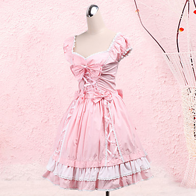 Princess Sweet Lolita Dress Women\'s Girls\' Cotton Japanese Cosplay Costumes  Plus Size Customized Pink Ball Gown Bowknot Short Sleeve Medium Length