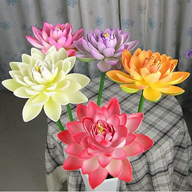 27 cm diametru de simulare de lotus deschis floare cu tulpina