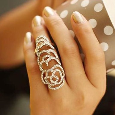 Women's Statement Rings Unique Design Fashion European Crystal Rhinestone Roses Flower Jewelry Wedding Party Daily Casual