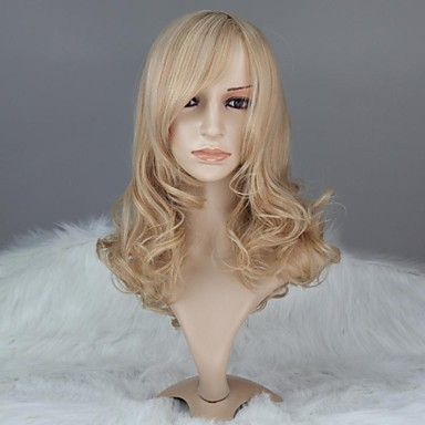 Women Capless Fashion Long Curly Mixed Ash Blonde Synthetic Wig with Full Bang