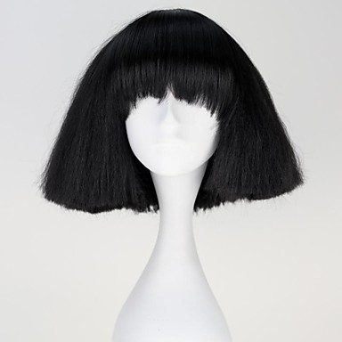 Lady Gaga Capless Fashion Short Straight Black Synthetic Wigs