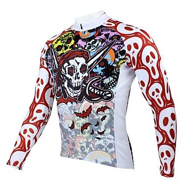 ILPALADINO Per uomo Manica lunga Maglia da ciclismo - Rosso e Bianco Teschi Costumi da pirata Bicicletta Maglietta / Maglia Top, Traspirante Tenere al caldo Asciugatura rapida Poliestere 100